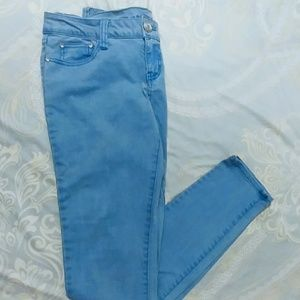Periwinkle Blue Skinny Jeans W/ Crystal Buttons